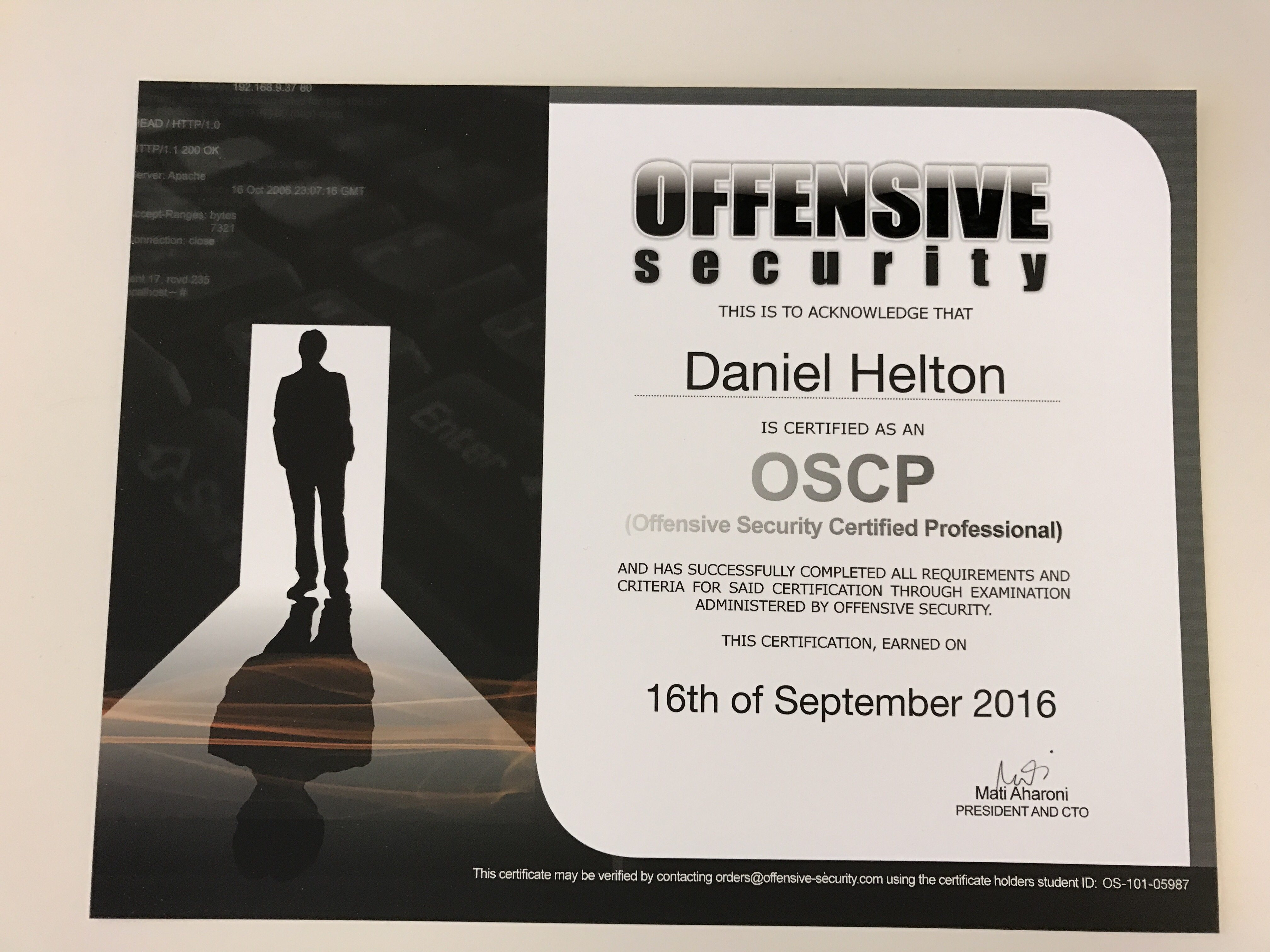 Oscp dan heltons blog for the curious it took about a month for them to send the paper certificate and a little hard plastic credit card sized version via dhl courier xflitez Images